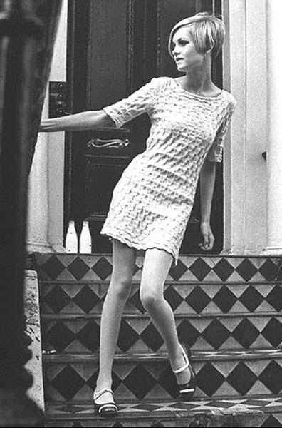 British Model Twiggy Models A Mary Quant Dress