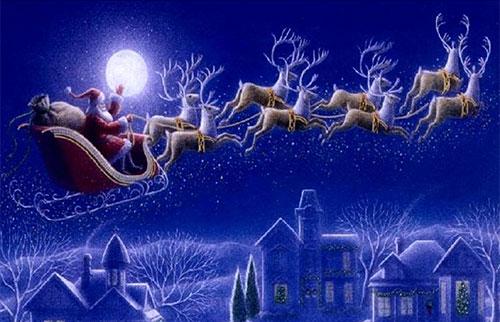 santas reindeer - Santa And Reindeer Pictures